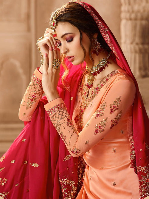 Deep Pink And Peach Pakistani Gharara Suit