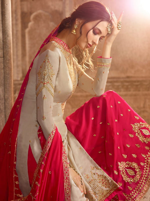 Beige And Pink Pakistani Gharara Suit