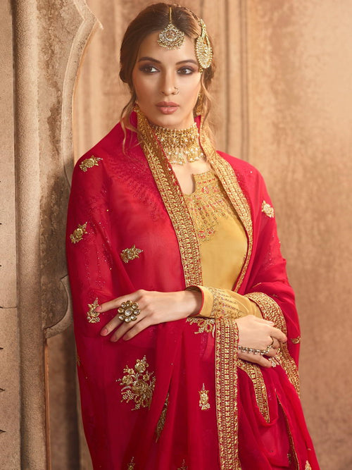 Yellow And Red Pakistani Gharara Suit