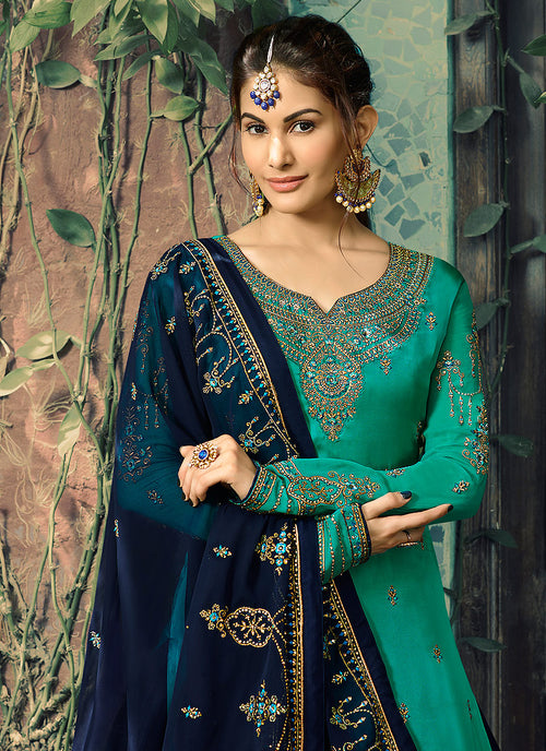 Turquoise And Blue Embroidered Lehenga Suit