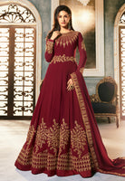 Red Golden Embroidered Anarkali Suit