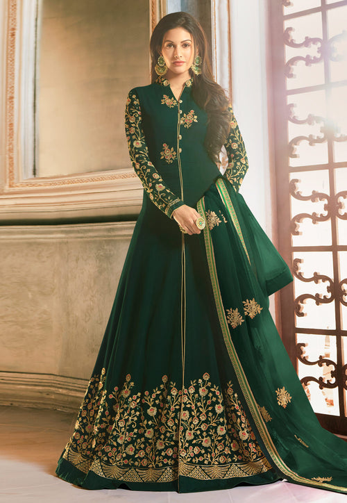 Embroidered Anarkali Pant Suit
