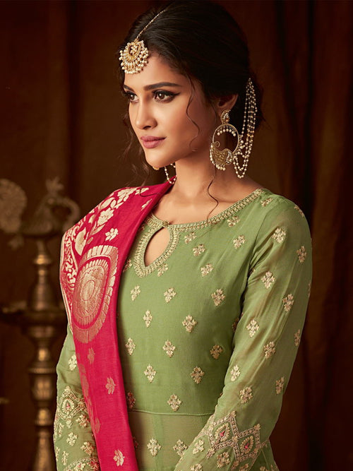 Green And Pink Wedding Anarkali Lehenga Online