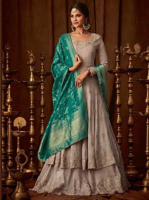 Beige And Mint Wedding Anarkali Lehenga Online