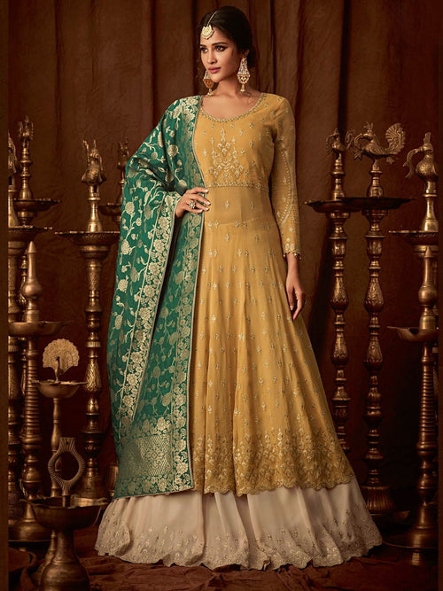 Yellow And Green Wedding Anarkali Lehenga Online