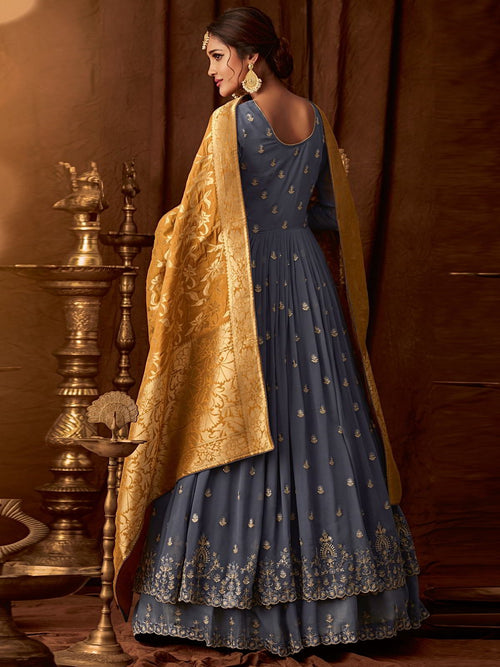 Grey And Mustard Wedding Anarkali Lehenga Online