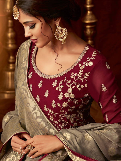 Maroon And Golden Wedding Anarkali Lehenga Online