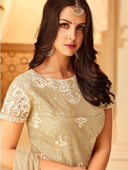 Beige And Gold Embroidered Palazzo Suit