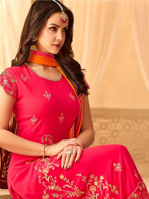 Pink Orange In Combination Embroidered Palazzo Suit
