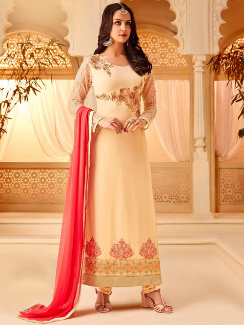 Cream And Pink Designer Palazzo Suit