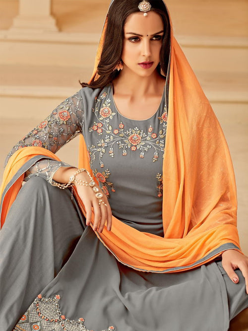 Grey Orange In Combination Palazzo Suit