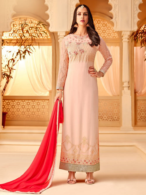 Pink In Combination Designer Palazzo Suit