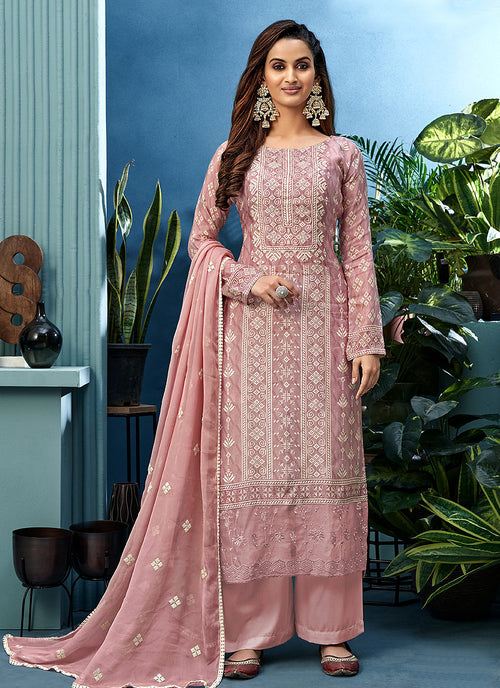 Light Pink Pearl Embroidered Palazzo Suit