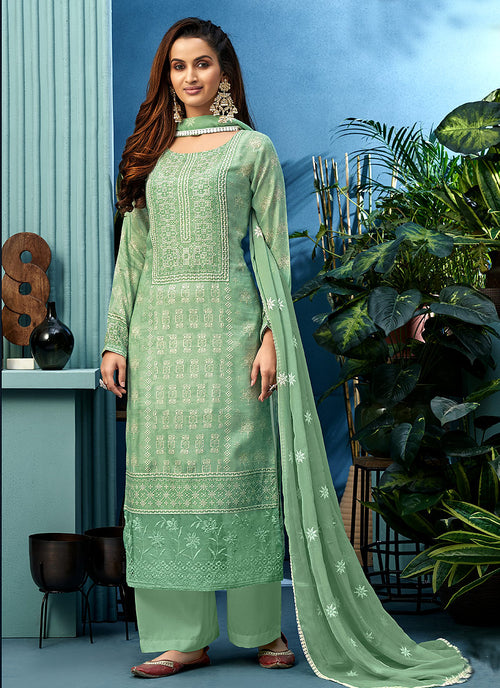 Green Pearl Embroidered Palazzo Suit
