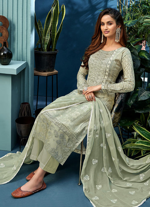 Olive Green Pearl Palazzo Suit In usa uk canada