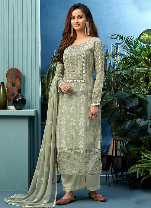 Olive Green Pearl Embroidered Palazzo Suit