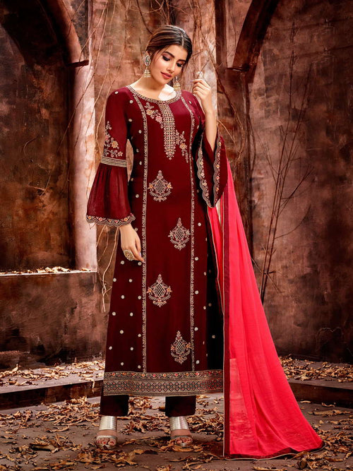 Red Over All Traditional Pakistani Pant Suit