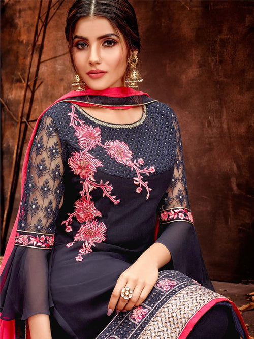 Blue And Pink Traditional Pakistani Pant Suit