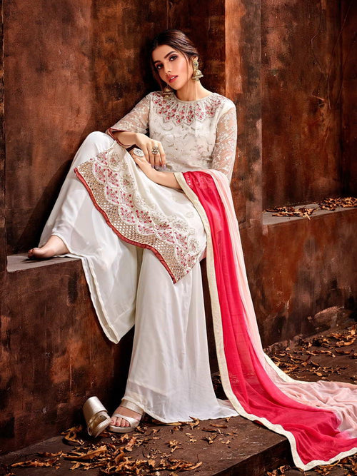 White And Pink Traditional Pakistani Palazzo Suit