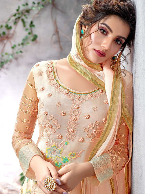 Light Peach Multi Designer Pakistani Pant Suit