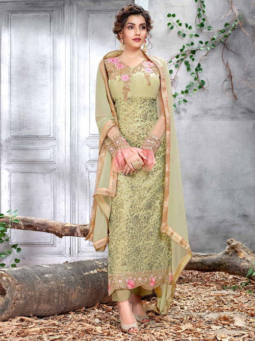 Light Green Multi Designer Pakistani Pant Suit