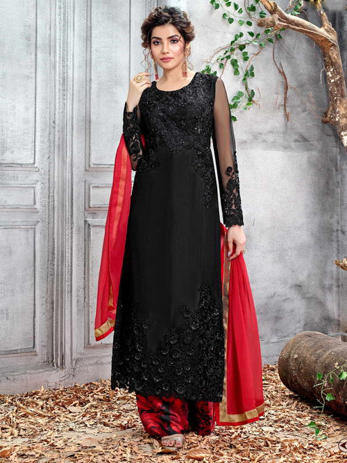 Black And Red Designer Pakistani Palazzo Suit