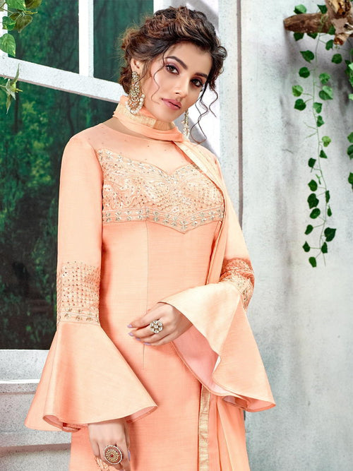 Peach Overall Zari Embroidered Pakistani Palazzo Suit