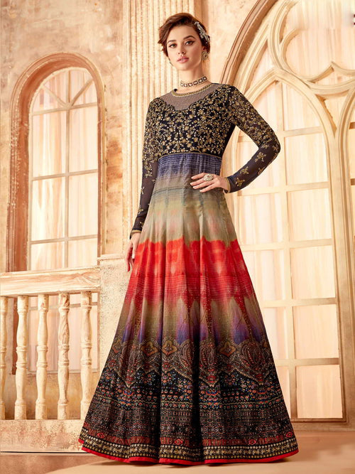 Blue Red Multicoloured Flared Anarkali Suit