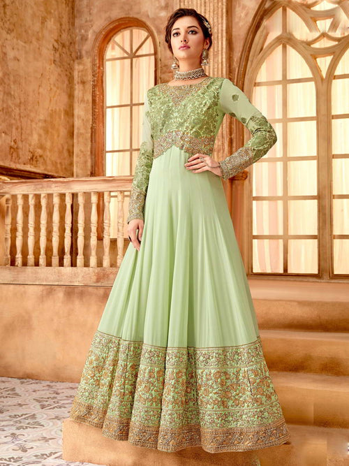 Light Green And Gold Flared Anarkali Suit