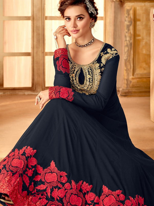 Blue And Red Ethnic Style Flared Anarkali Suit