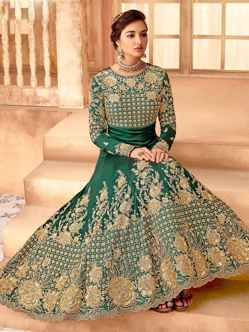Dark Green And Gold Flared Anarkali Suit