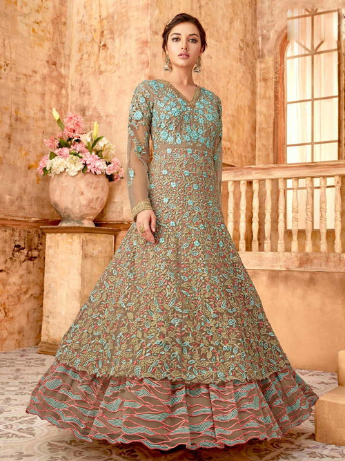 Brown And Blue Layered Anarkali Suit