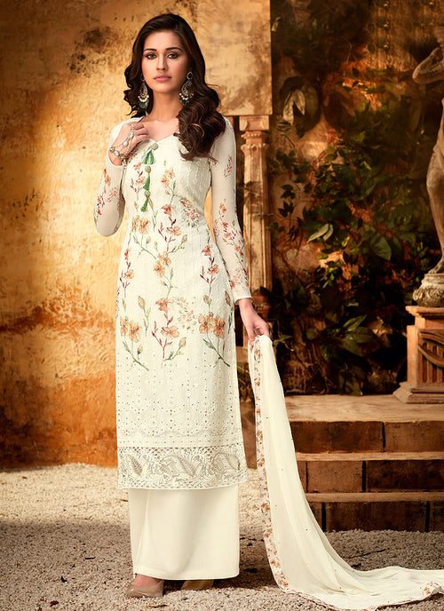 Off White Multi Embroidered Designer Palazzo Suit