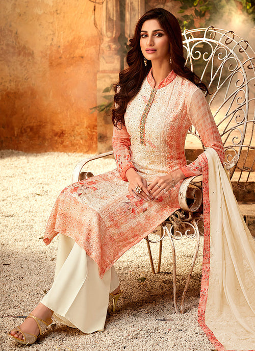 Orange And Cream Multi Embroidered Palazzo Suit