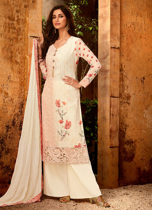 Peach And Cream Multi Embroidered Palazzo Suit