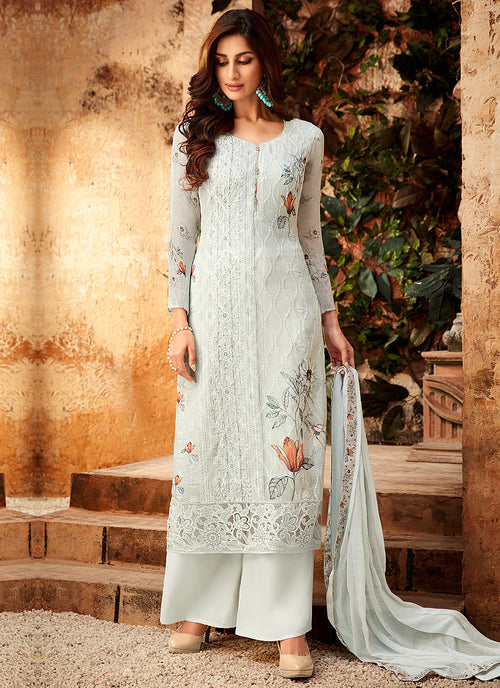 White Overall Multi Embroidered Palazzo Suit