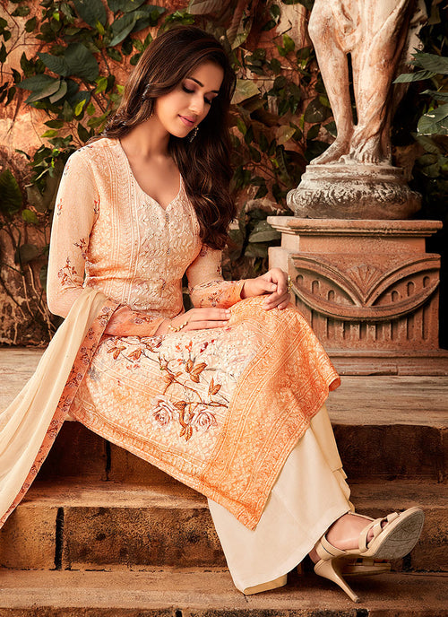 Pale Orange Multi Embroidered Palazzo Suit