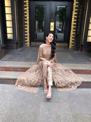 Rose Gold Coppers Embroidery Lehenga Suit