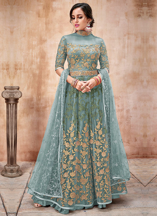 Indian Clothes - Light Blue Embroidered Flared Anarkali Suit