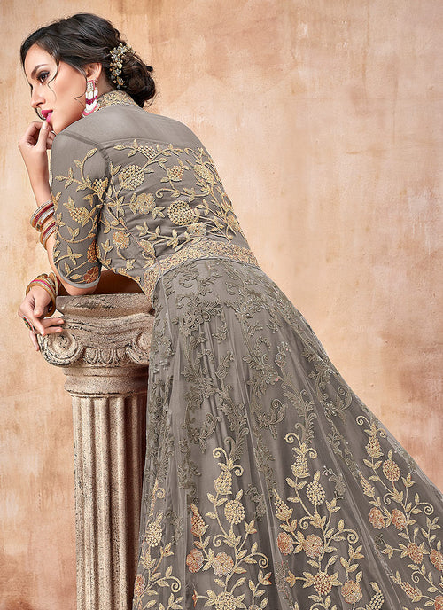 Olive Green Embroidered Flared Anarkali Suit