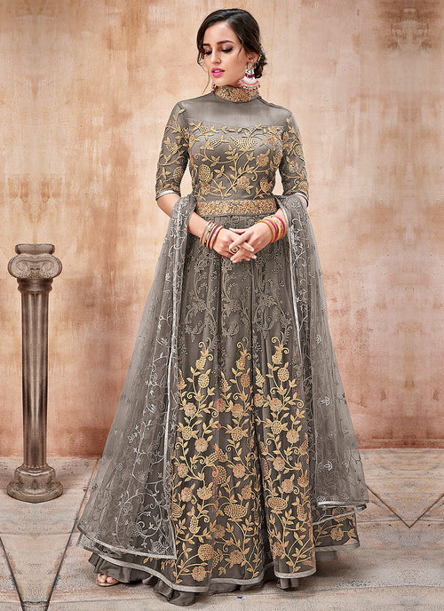 Indian Clothes - Olive Green Embroidered Flared Anarkali Suit