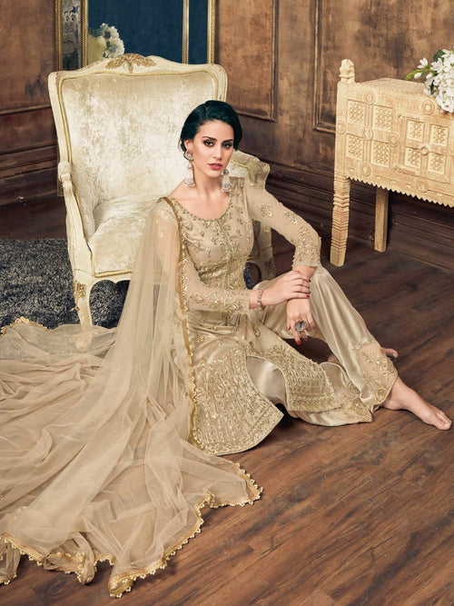 Golden Pearl Embellished Pakistani Pant Suit