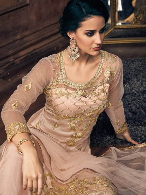 Light Peach Pearl Embellished Pakistani Pant Suit