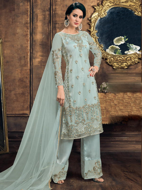 Light Blue Pearl Embellished Pakistani Pant Suit