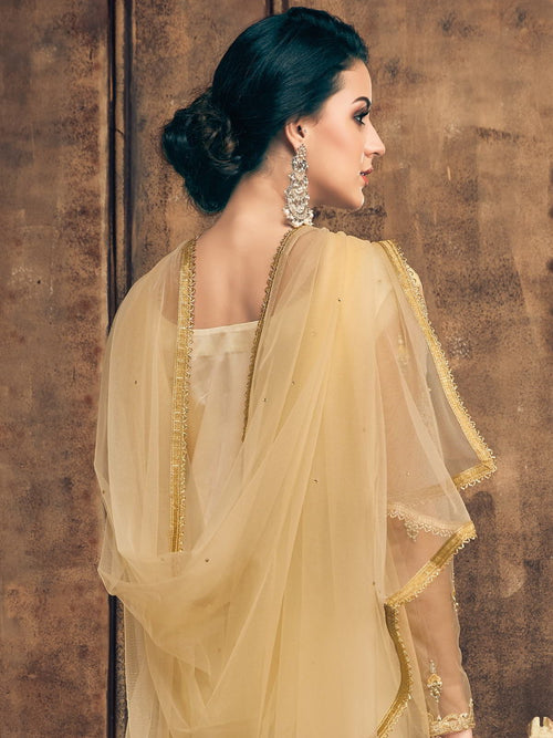 Yellow Pearl Embellished Pakistani Pant Suit