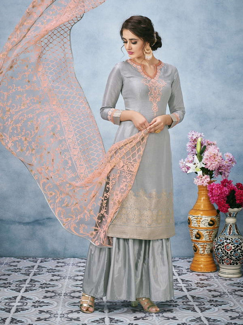 Grey And Peach Lucknowi Embroidered Ethnic Palazzo Suit