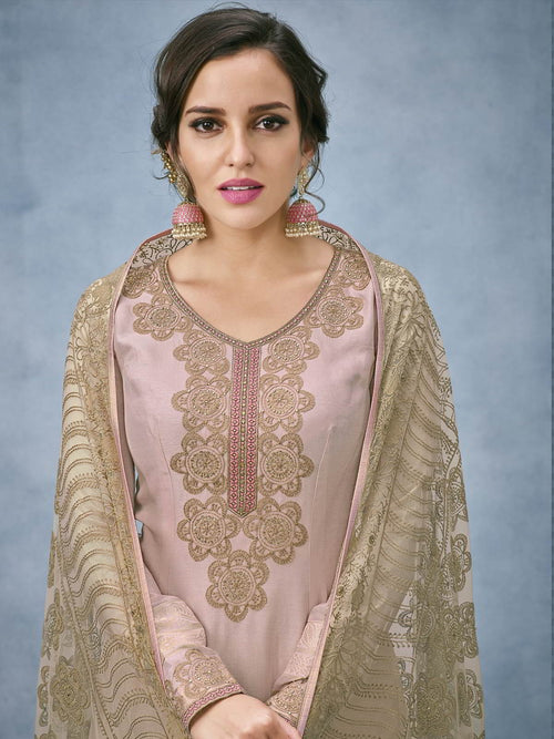 Mauve And Green Lucknowi Embroidered Ethnic Palazzo Suit