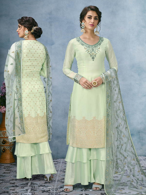 Green Overall Lucknowi Ethnic Palazzo Suit