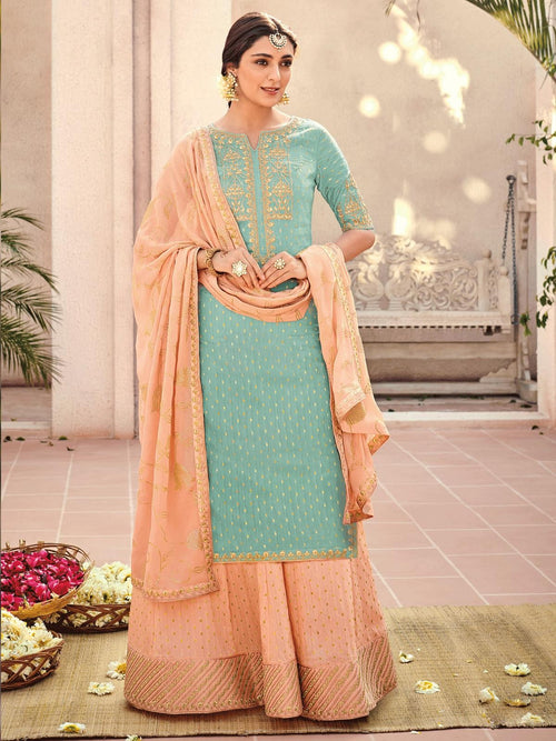 Blue And Peach Embroidered Gharara Palazzo Suit