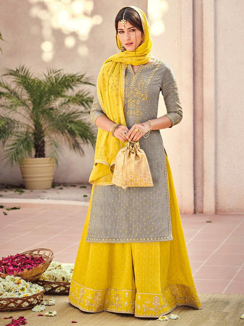 Grey And Yellow Embroidered Gharara Palazzo Suit